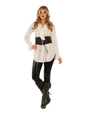 Pirate Lace-Up White Blouse Adult Costume