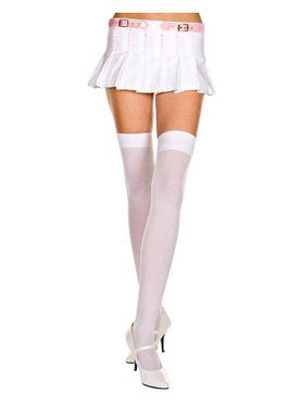 White Opaque Thigh High Stocking