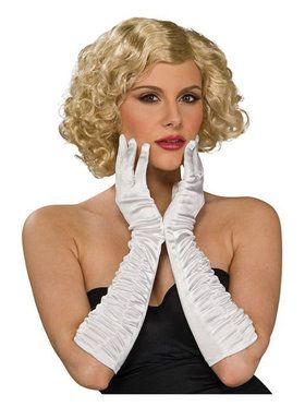 White Satin Wrinkled Lycra Elbow Gloves
