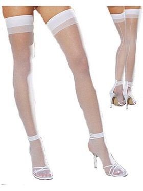 White Sheer Thigh Highs With Back Seam