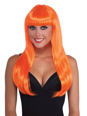 Neon Long Orange Adult Wig