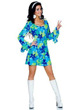 Wild Flower Child Adult Hippie Costume
