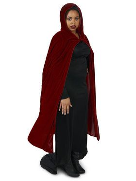 Plus Size Wine Velvet Cape For Adults