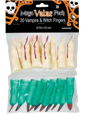 Witch and Vampire Plastic Fingers (20 Count)