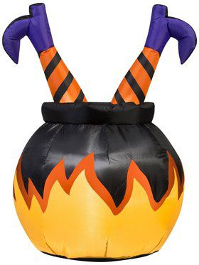 Inflatable Witch Crashed into a Cauldron
