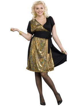 Womans Plus Size Disco Gold Costume
