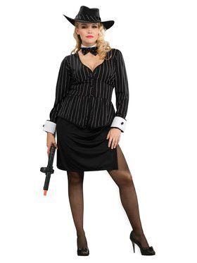 Womens Plus Size Gangster Costume