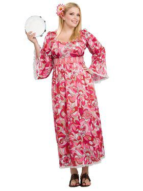 Womens Plus Size Hippie Flower Child Costume