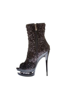 "5 1/2"" Sequin Bootie with Open Toe and Rhinestone Studded Platform"