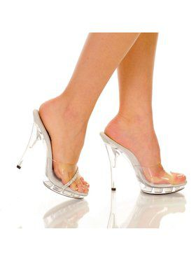 "5"" Clear Platform Mule with Studded Strap"