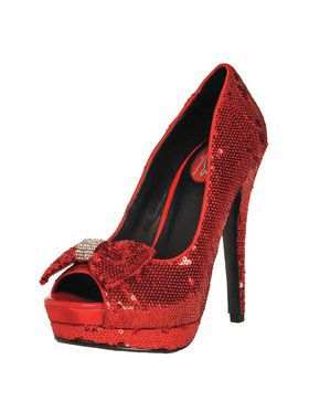 "5"" Sequin Pump with Diamond Bow"