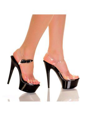 "6"" Clear Strap Black ABS Bottom Heel"