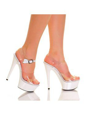 "6"" Clear Strap White ABS Bottom Heel"