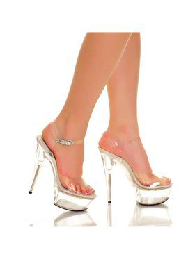 """6"""" Clear Strap Clear ABS Bottom Heel"""