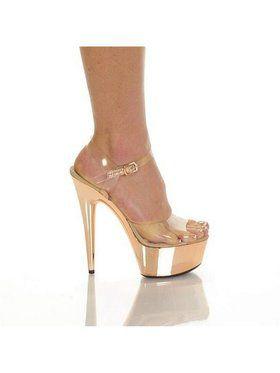 "6"" Clear Strap Blush ABS Bottom Heel"