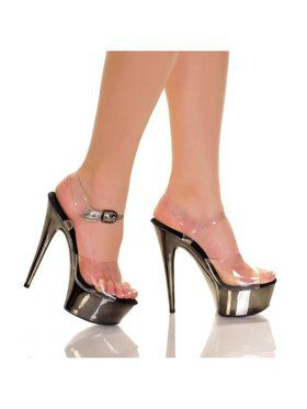 "6"" Clear Strap Pewter ABS Bottom Heel"
