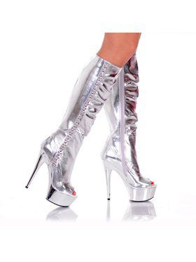 "6"" Knee-High Side-Studded Silver Platform Boot"