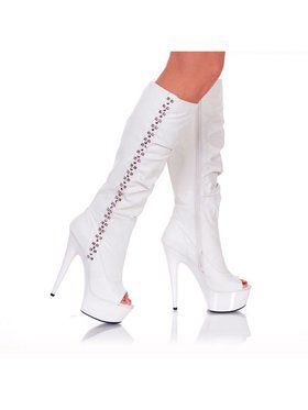 "6"" Knee-High Side-Studded White Platform Boot"