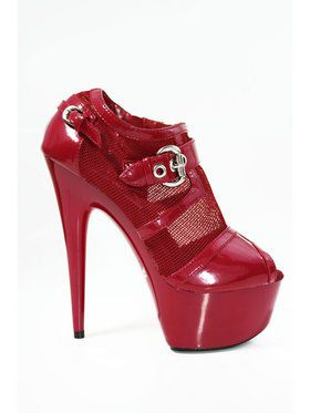 "6"" Red Mesh Ankle Bootie with Open Toe and Buckle"