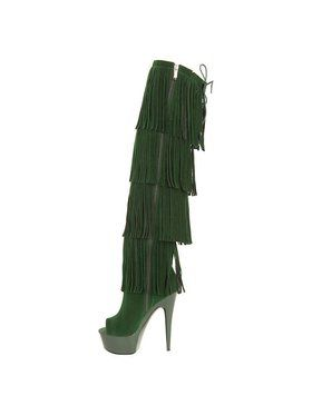 """6"""" Thigh High Open-Toed Green Fringe Boot"""