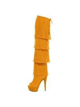 "6"" Thigh High Open-Toed Yellow Fringe Boot"