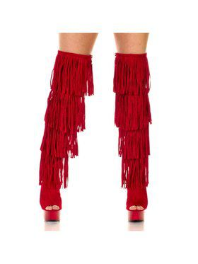 "6"" Thigh High Open-Toed Red Fringe Boot"
