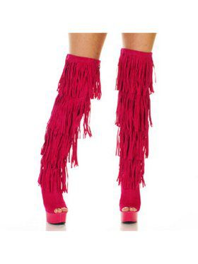 "6"" Thigh High Open-Toed Fuchsia Fringe Boot"