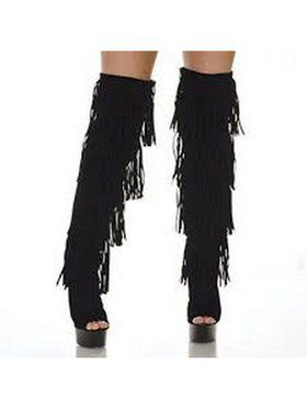 """6"""" Thigh High Open-Toed Black Fringe Boot"""