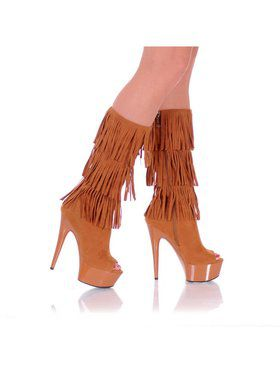 "6"" Open-Toed Brown Western Fringe Boot"