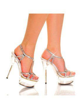 "6"" Rhinestone and Glass Studded Strappy Platform Sandal"