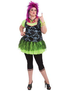 Womens 80's Punk Plus Size Costume