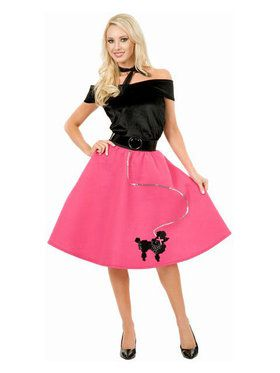 Women's Black And Fuchsia Poodle Skirt And Top Costume