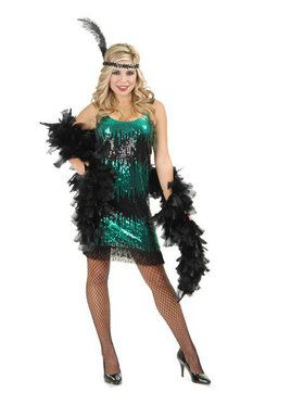 Women's Black And Jade Sequin Flapper Costume