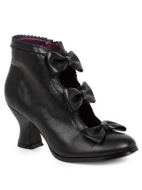 Black Ankle Boots with Bows For Adults
