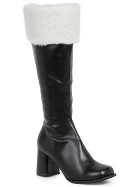 Black Gogo Boots with Faux Fur For Adults