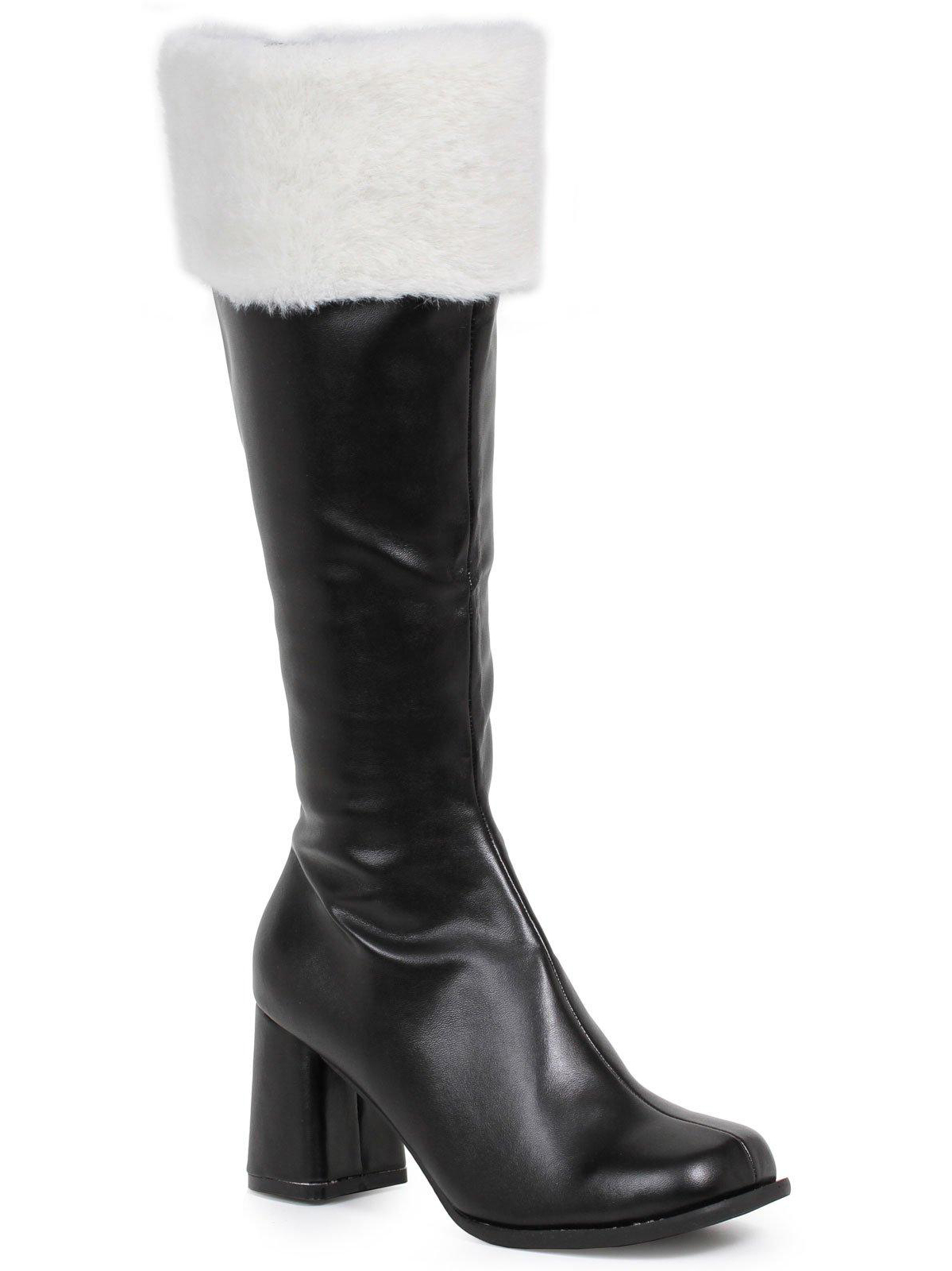 Black Gogo Boots With Faux Fur