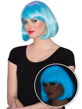 Blue Glowing Bob Wig for Women