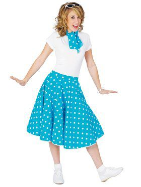 Womens Blue Sock Hop Skirt