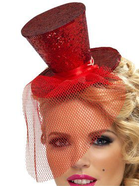 Women's Burlesque Red Sequin Mini Top Hat