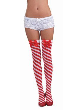 Candy Cane Thigh-Highs for Women