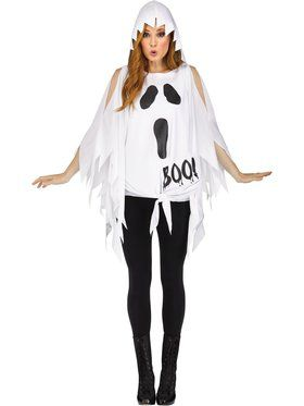 Womens Glitter Ghost Poncho