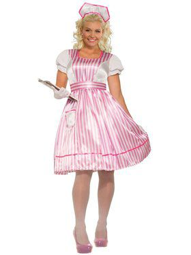 Womens Curvy Candy Striper Nurse Costume