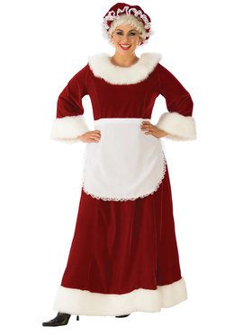 Womens Curvy Premium Traditional Mrs. Claus Costume