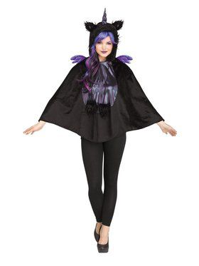 Womens Goth Unicorn Poncho
