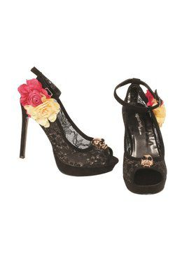 Lacey Day of the Dead Pump with Ankle Strap