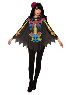 Day Of The Dead Poncho for Women