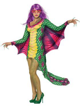 Dazzling Dragon Dress with Mask Womens Costume