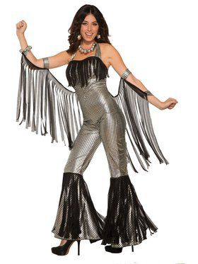 Womens Silver Disco Queen Jumpsuit for Women