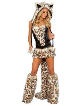 Women's Frisky Leopard Skirt and Corset Sexy Deluxe Costume