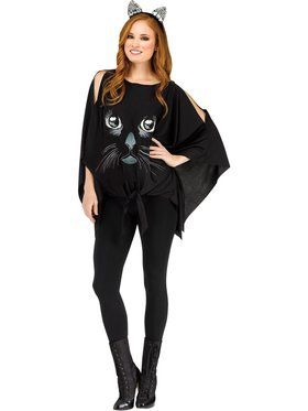 Womens Glitter Ghostly Poncho